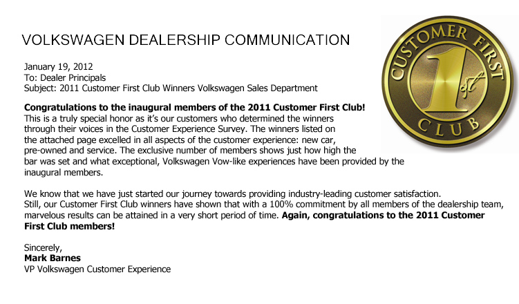 Bob King Volkswagen Is A Member Of The 2011 Customer First Club